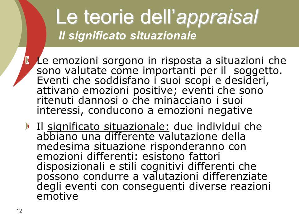 Le teorie dell'appraisal Il significato situazionale