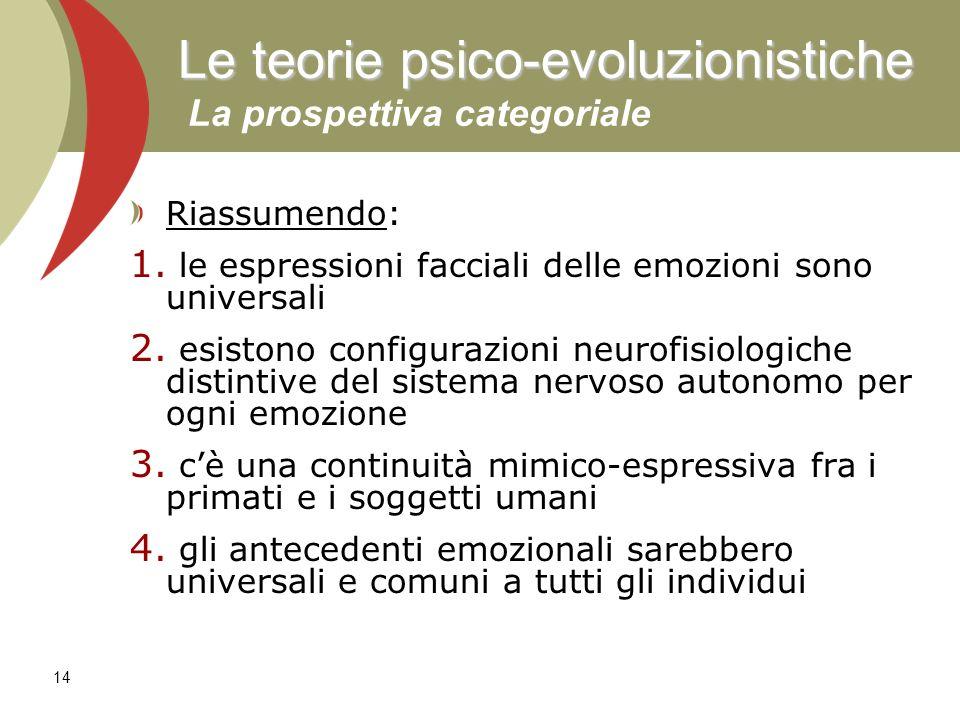 Le teorie psico-evoluzionistiche La prospettiva categoriale
