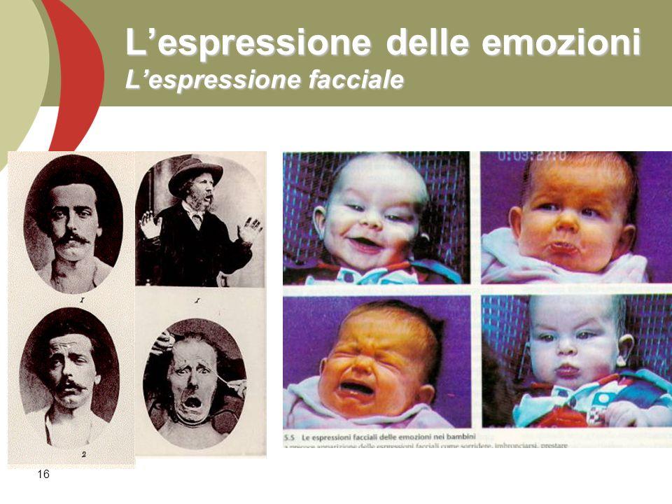 L'espressione delle emozioni L'espressione facciale