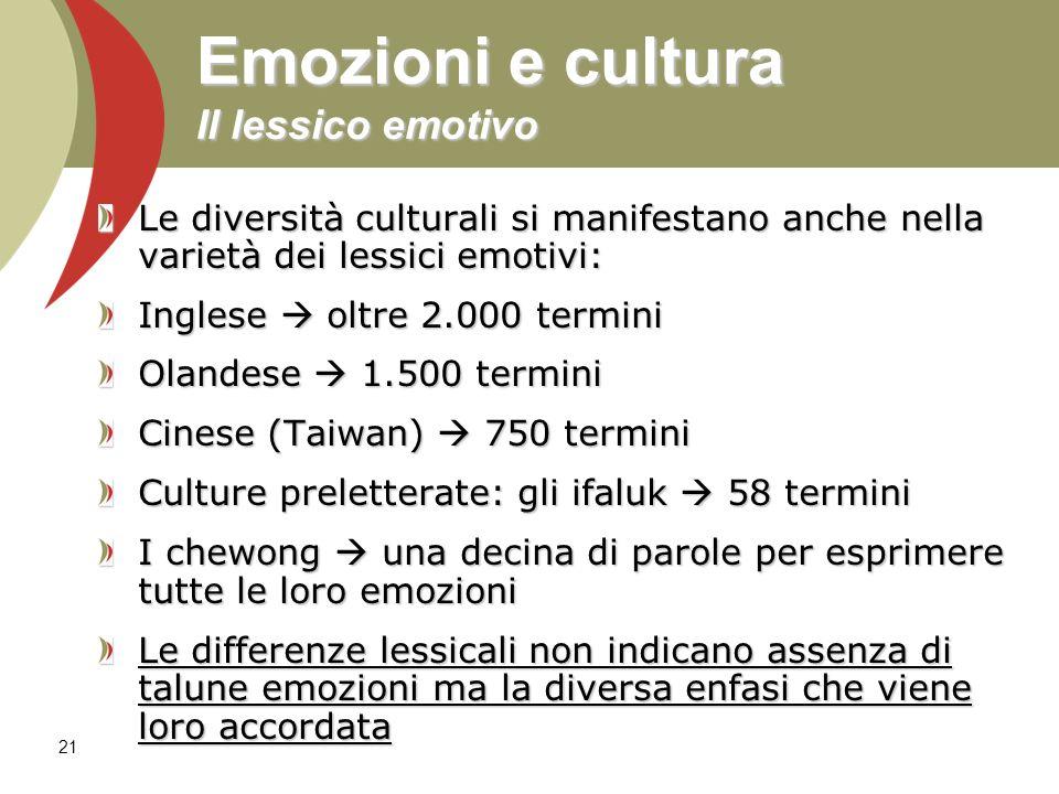 Emozioni e cultura Il lessico emotivo