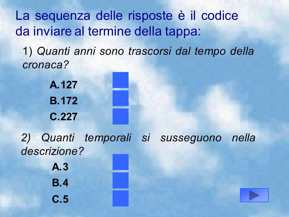 La sequenza delle risposte è il codice da inviare al termine della tappa: