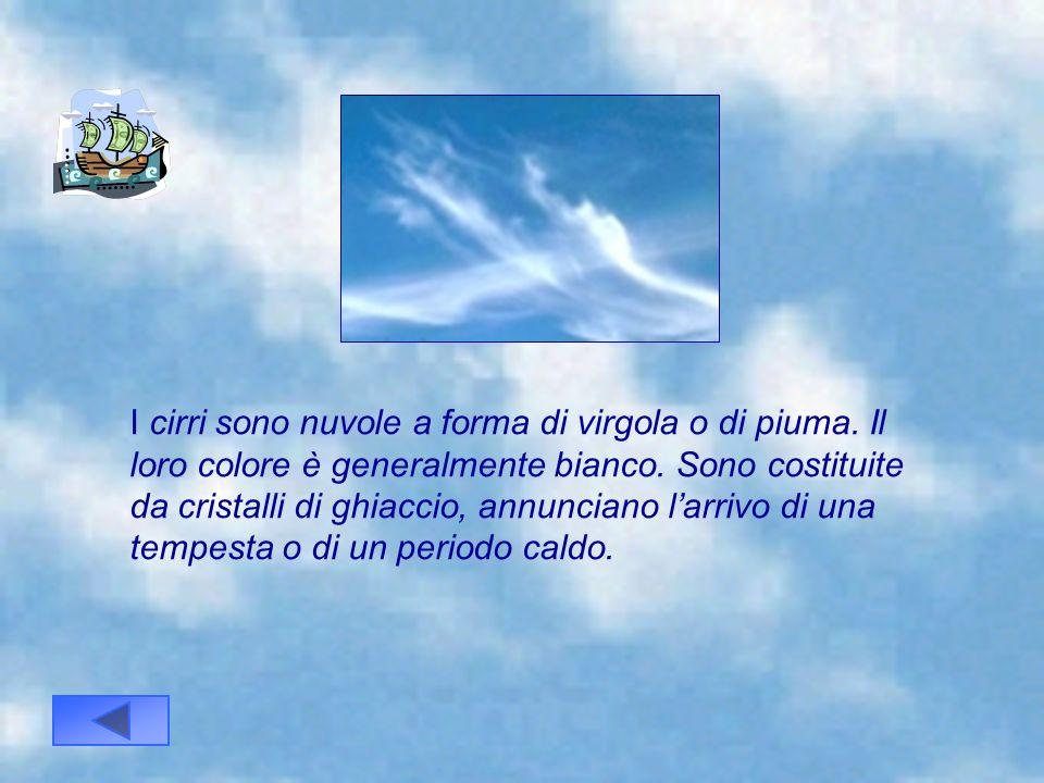 I cirri sono nuvole a forma di virgola o di piuma
