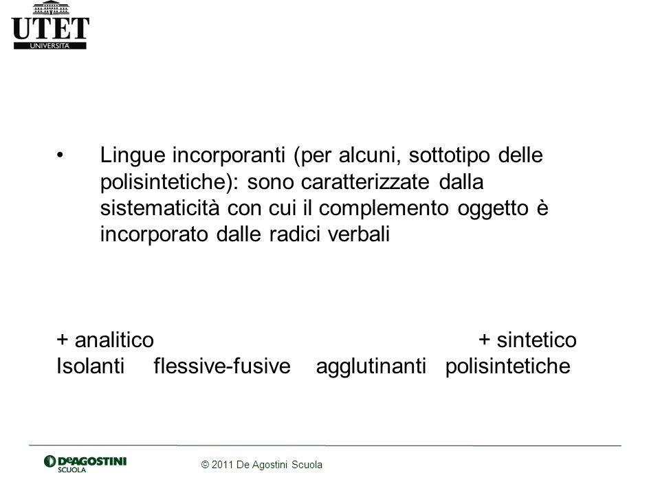 Lingue incorporanti (per alcuni, sottotipo delle polisintetiche): sono caratterizzate dalla sistematicità con cui il complemento oggetto è incorporato dalle radici verbali