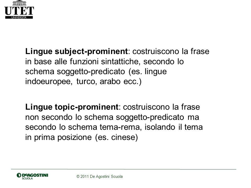 Lingue subject-prominent: costruiscono la frase in base alle funzioni sintattiche, secondo lo schema soggetto-predicato (es. lingue indoeuropee, turco, arabo ecc.)