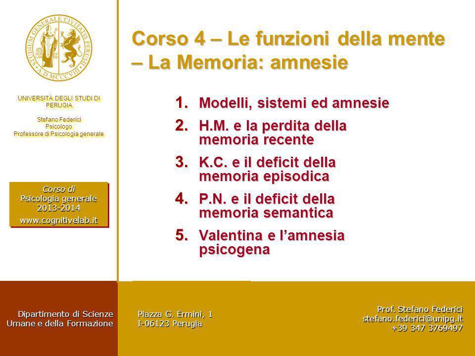 Corso 4 – Le funzioni della mente – La Memoria: amnesie