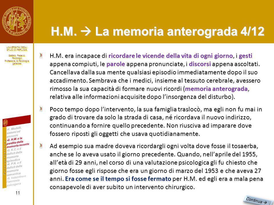H.M.  La memoria anterograda 4/12