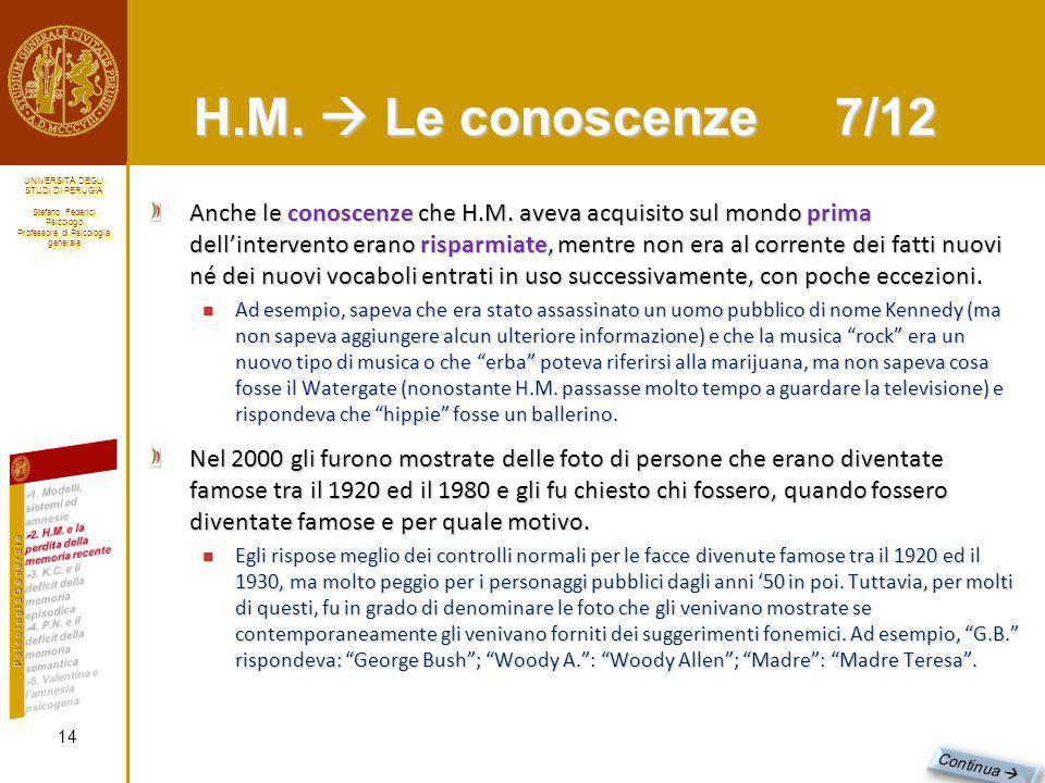 H.M.  Le conoscenze 7/12