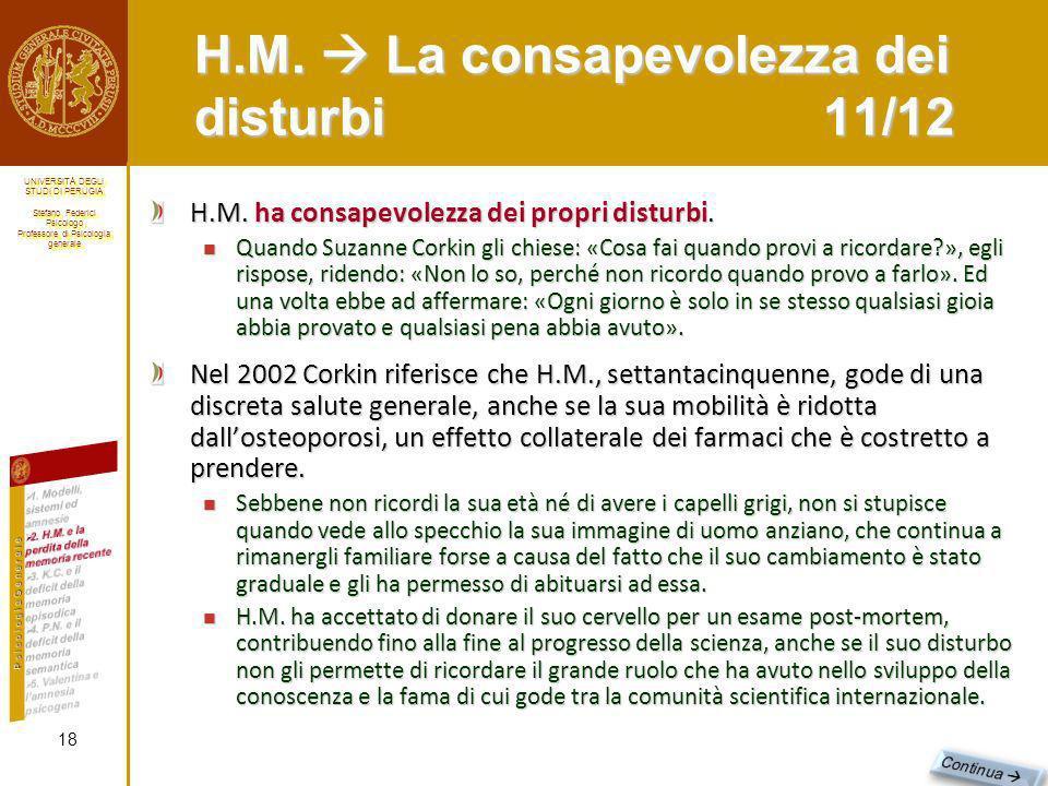 H.M.  La consapevolezza dei disturbi 11/12