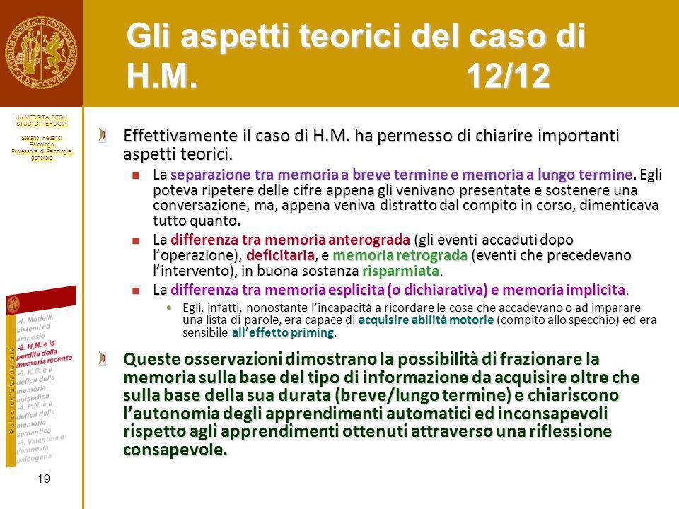 Gli aspetti teorici del caso di H.M. 12/12