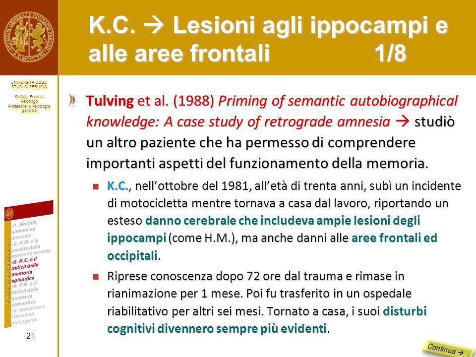 K.C.  Lesioni agli ippocampi e alle aree frontali 1/8