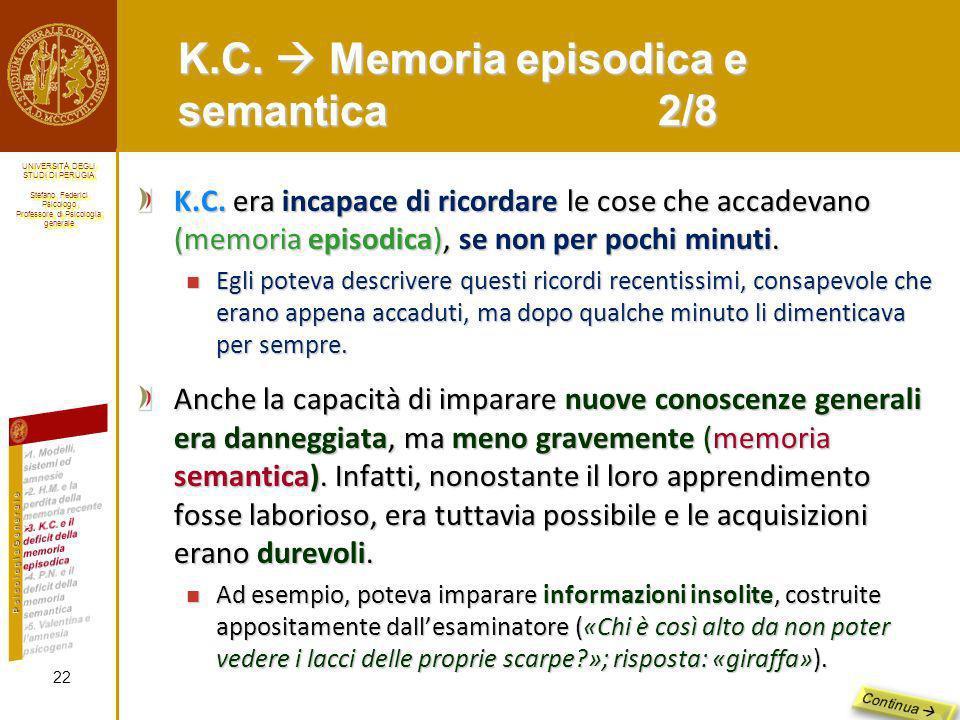 K.C.  Memoria episodica e semantica 2/8