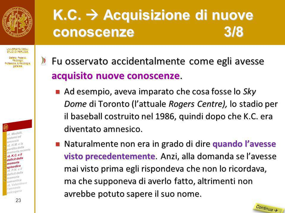 K.C.  Acquisizione di nuove conoscenze 3/8