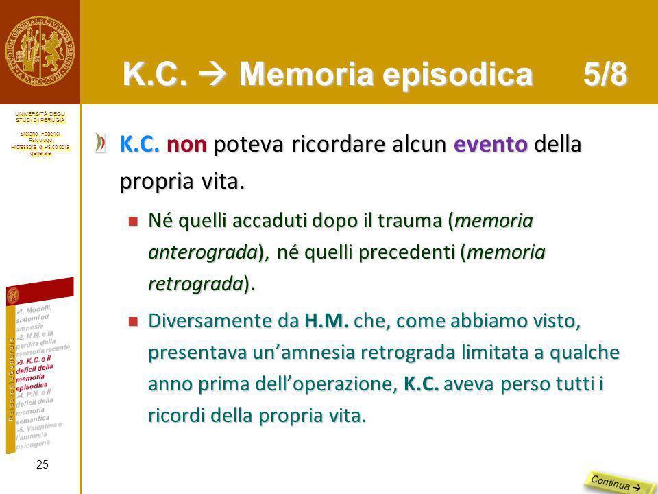 K.C.  Memoria episodica 5/8