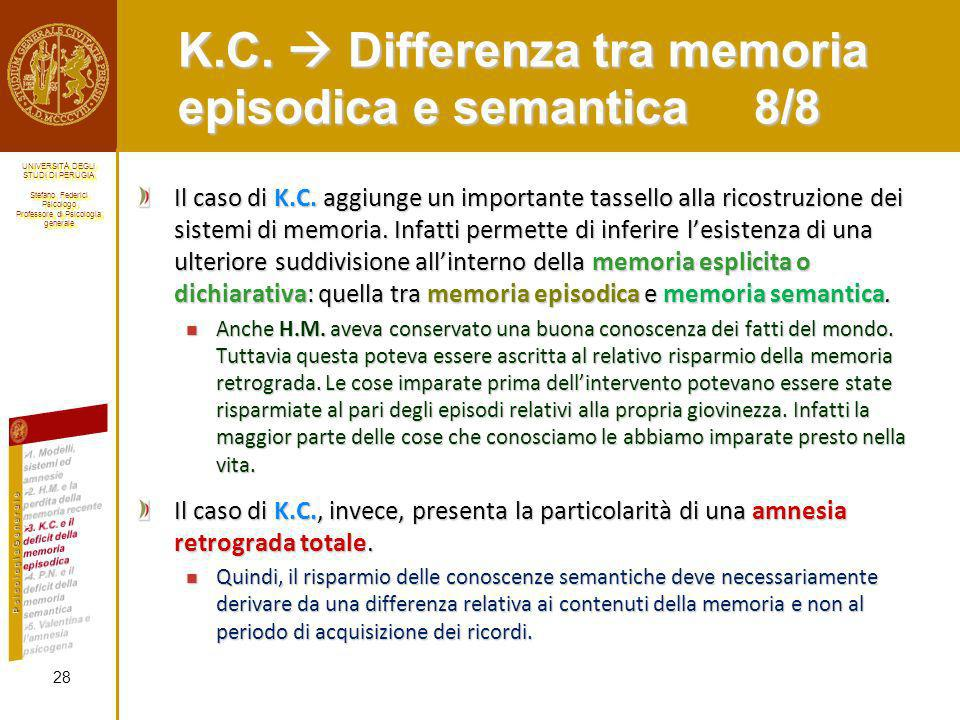 K.C.  Differenza tra memoria episodica e semantica 8/8