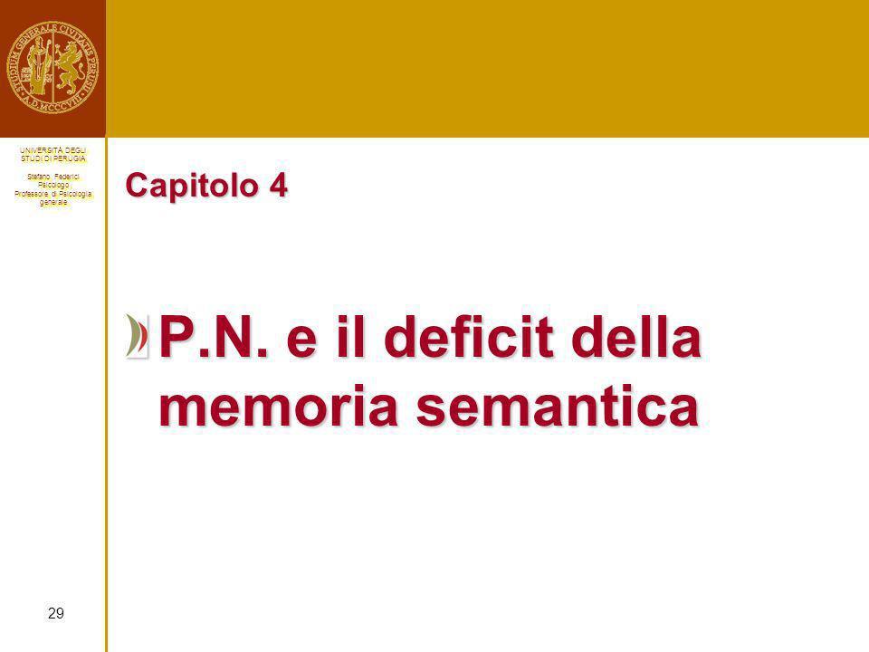 P.N. e il deficit della memoria semantica