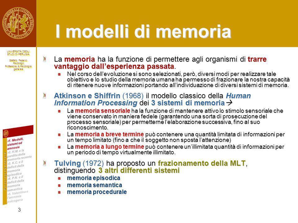 I modelli di memoria La memoria ha la funzione di permettere agli organismi di trarre vantaggio dall'esperienza passata.