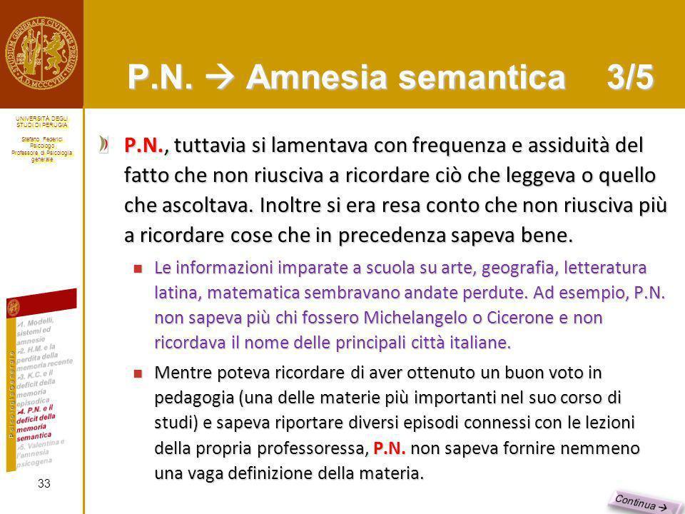 P.N.  Amnesia semantica 3/5