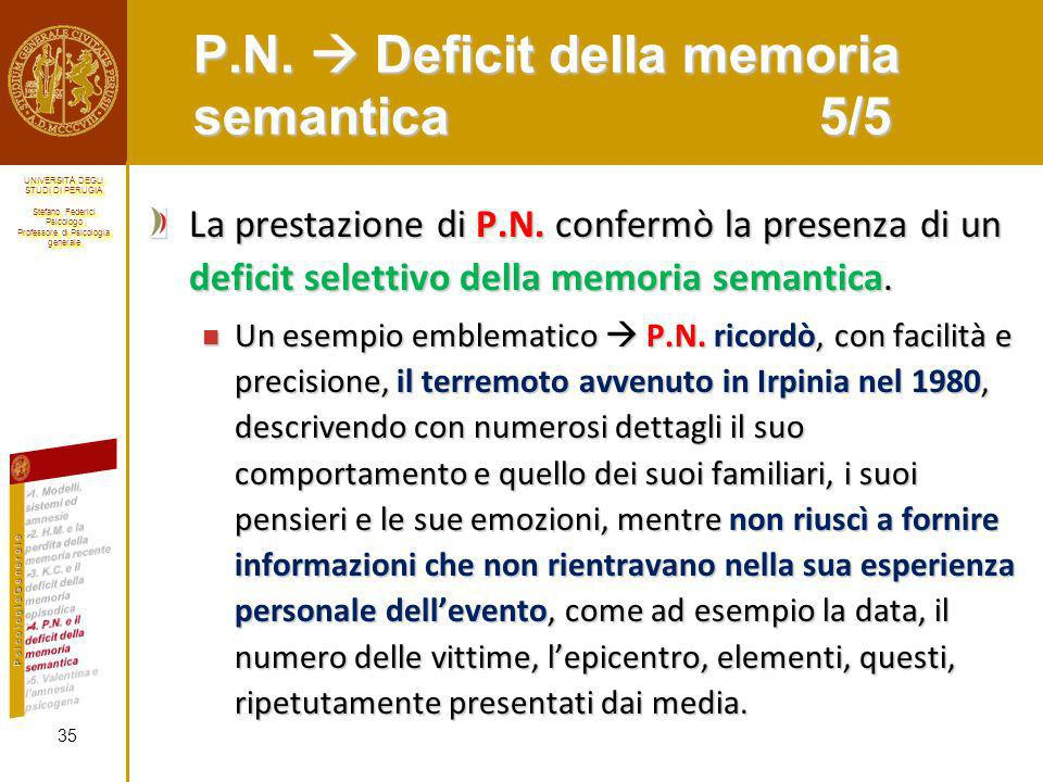 P.N.  Deficit della memoria semantica 5/5