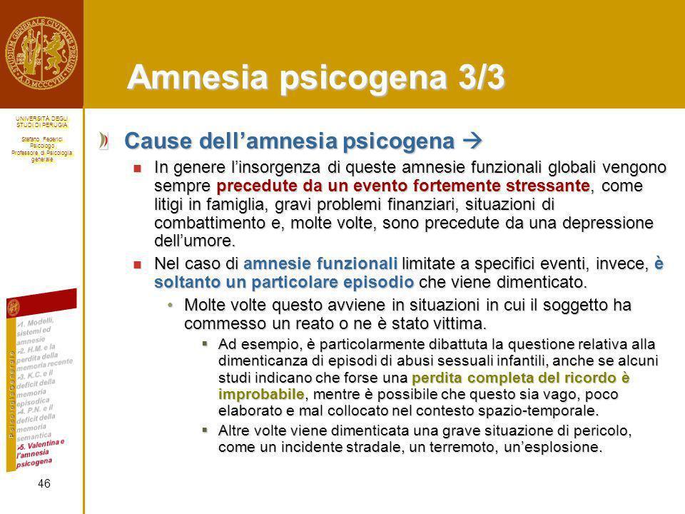 Amnesia psicogena 3/3 Cause dell'amnesia psicogena 