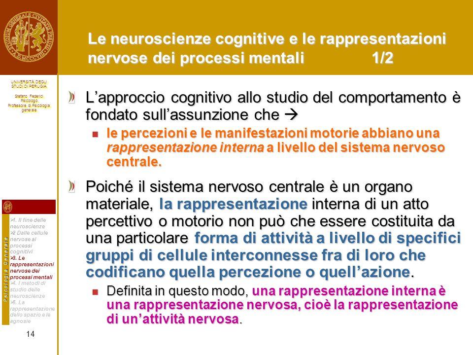 Le neuroscienze cognitive e le rappresentazioni nervose dei processi mentali 1/2