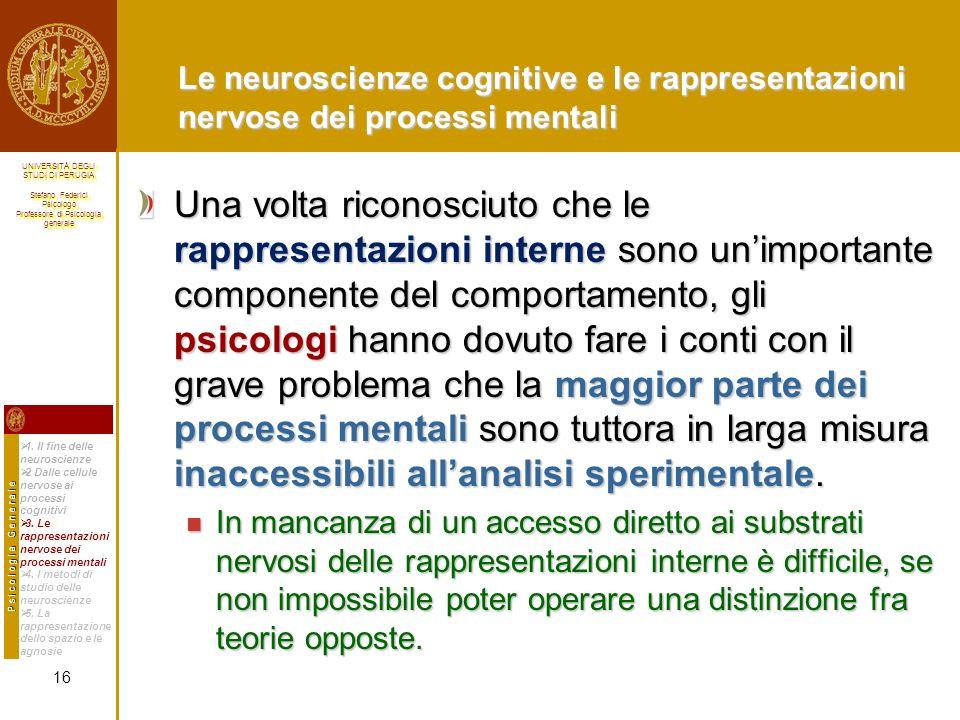 Le neuroscienze cognitive e le rappresentazioni nervose dei processi mentali