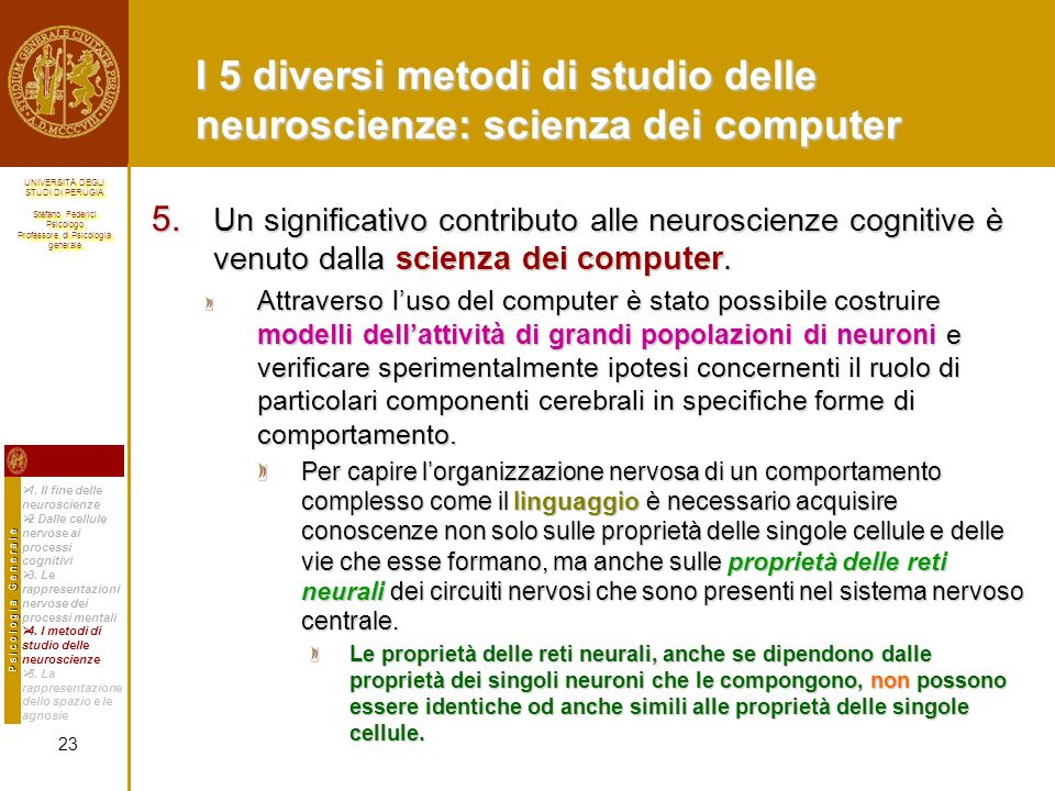 I 5 diversi metodi di studio delle neuroscienze: scienza dei computer