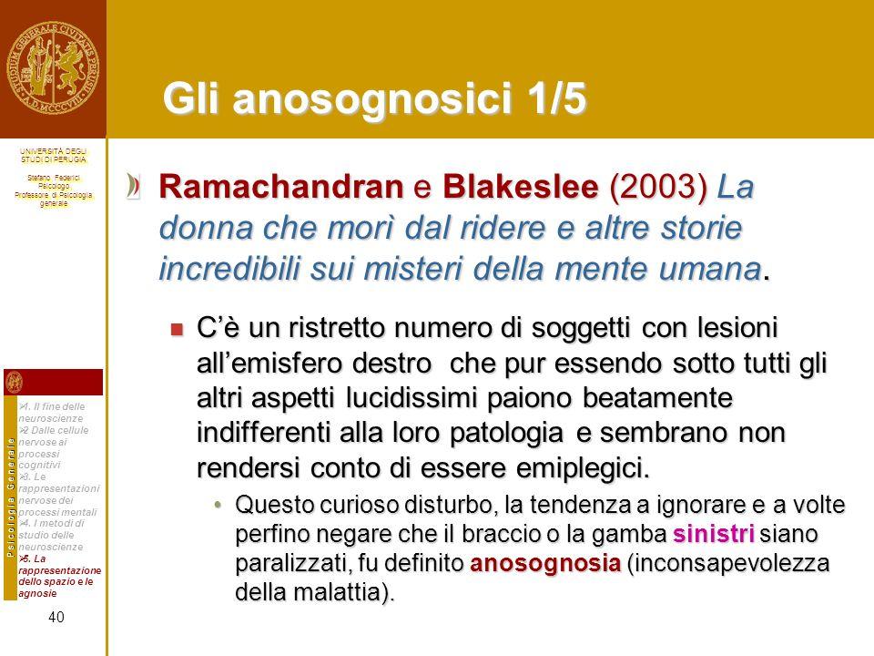 Gli anosognosici 1/5 Ramachandran e Blakeslee (2003) La donna che morì dal ridere e altre storie incredibili sui misteri della mente umana.