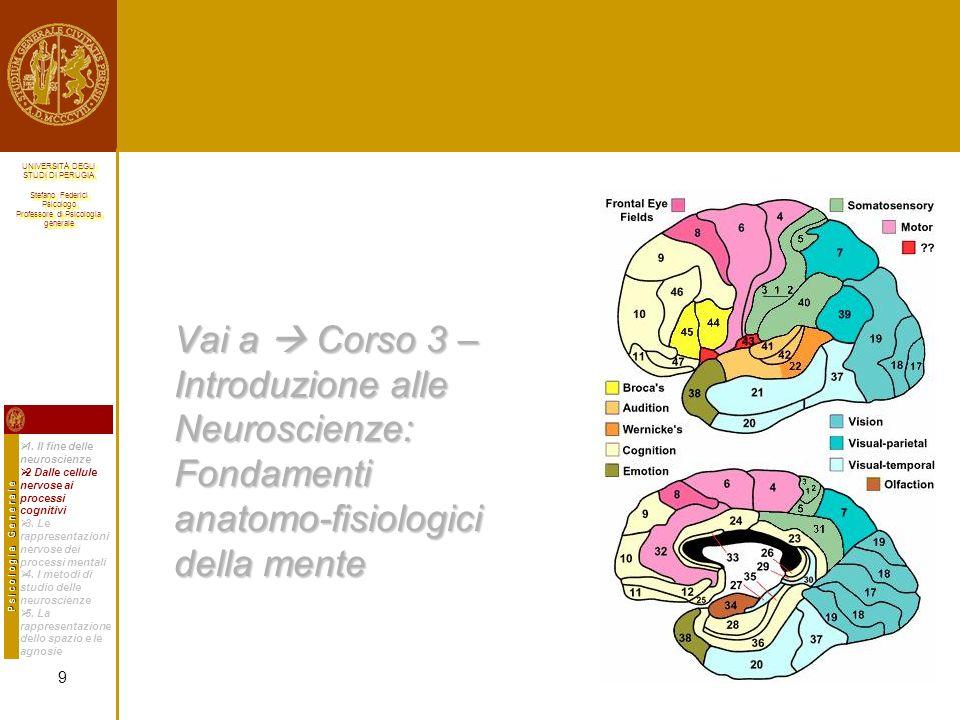 Vai a  Corso 3 – Introduzione alle Neuroscienze: Fondamenti anatomo-fisiologici della mente