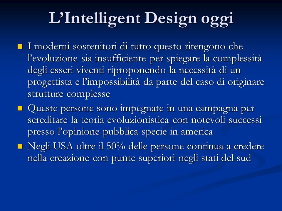 L'Intelligent Design oggi