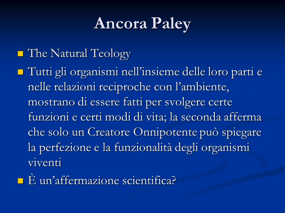 Ancora Paley The Natural Teology