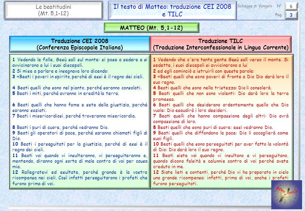 Il testo di Matteo: traduzione CEI 2008 e TILC