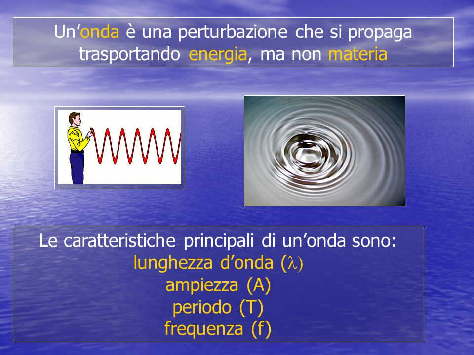 Le caratteristiche principali di un'onda sono:
