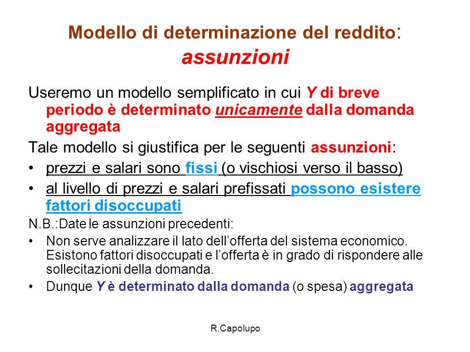 Modello di determinazione del reddito: assunzioni