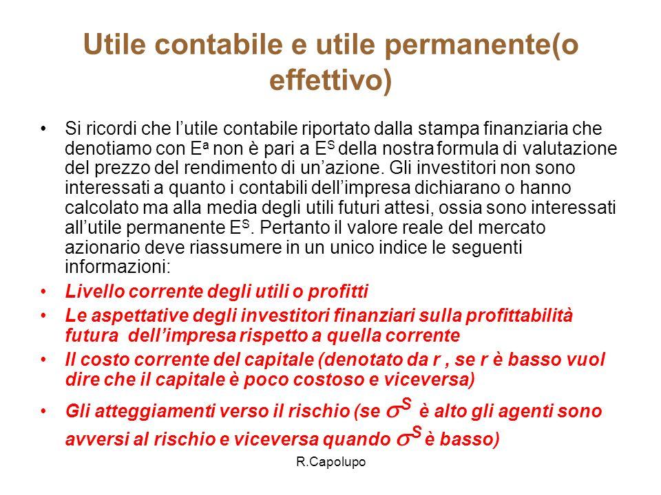 Utile contabile e utile permanente(o effettivo)