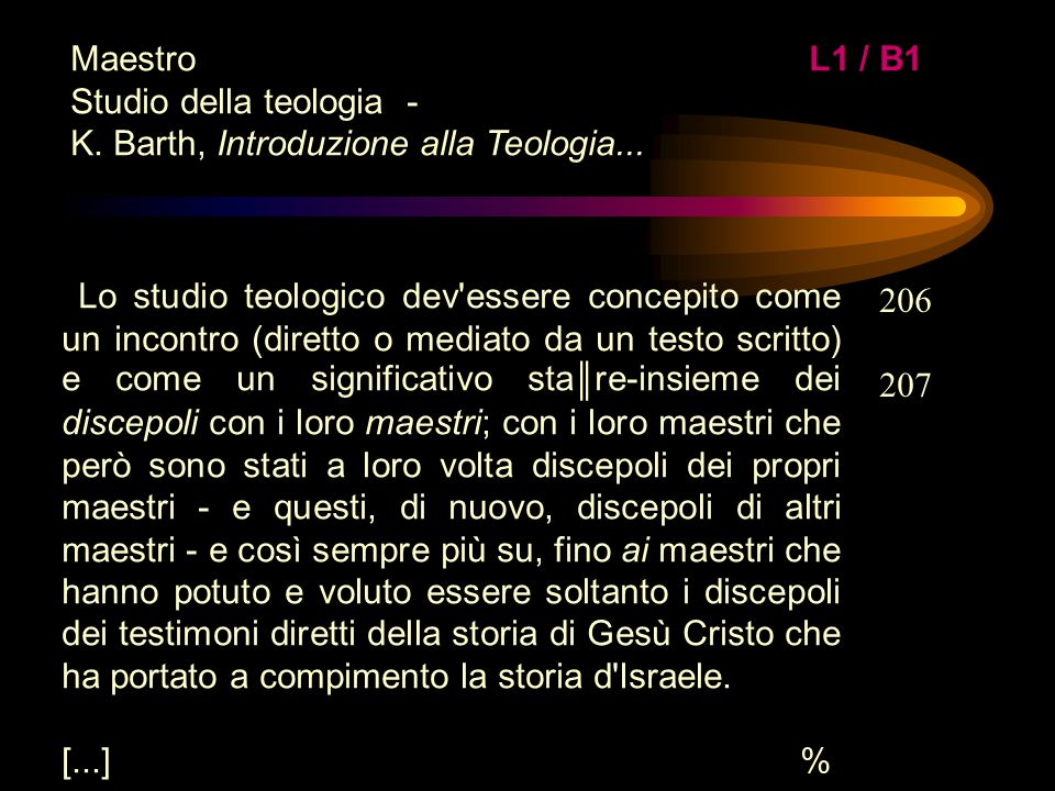 Maestro L1 / B1 Studio della teologia - K. Barth, Introduzione alla Teologia...