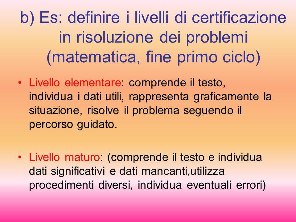 b) Es: definire i livelli di certificazione in risoluzione dei problemi (matematica, fine primo ciclo)