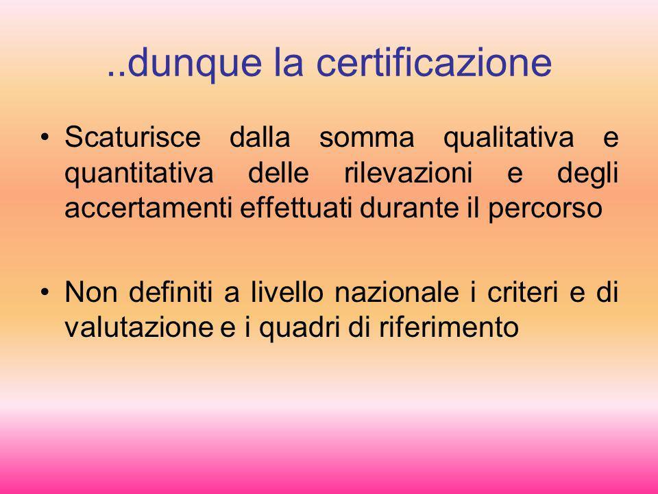 ..dunque la certificazione