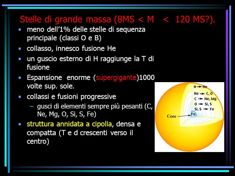 Stelle di grande massa (8MS < M < 120 MS ).