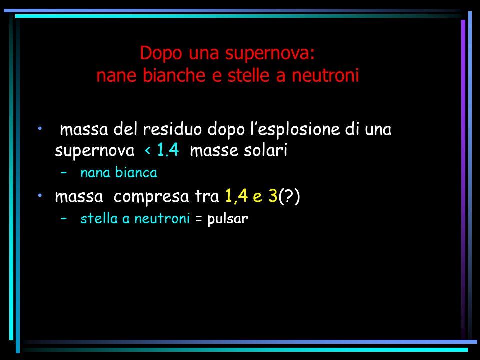 Dopo una supernova: nane bianche e stelle a neutroni