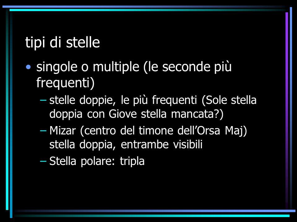 tipi di stelle singole o multiple (le seconde più frequenti)