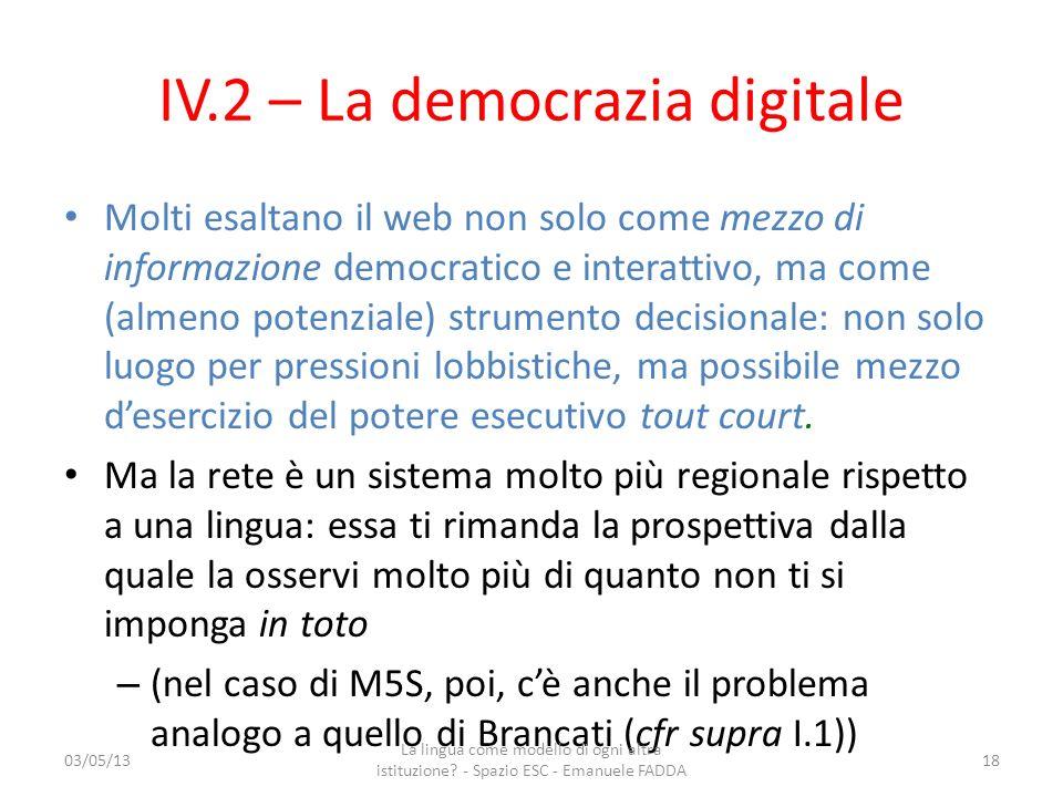IV.2 – La democrazia digitale
