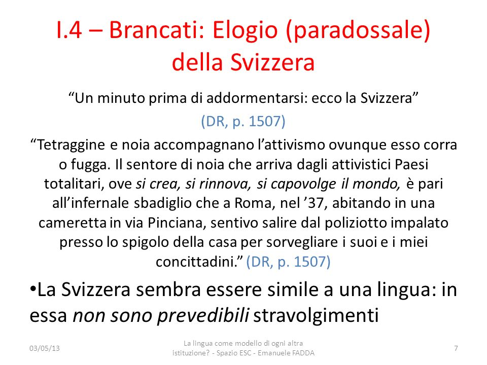 I.4 – Brancati: Elogio (paradossale) della Svizzera