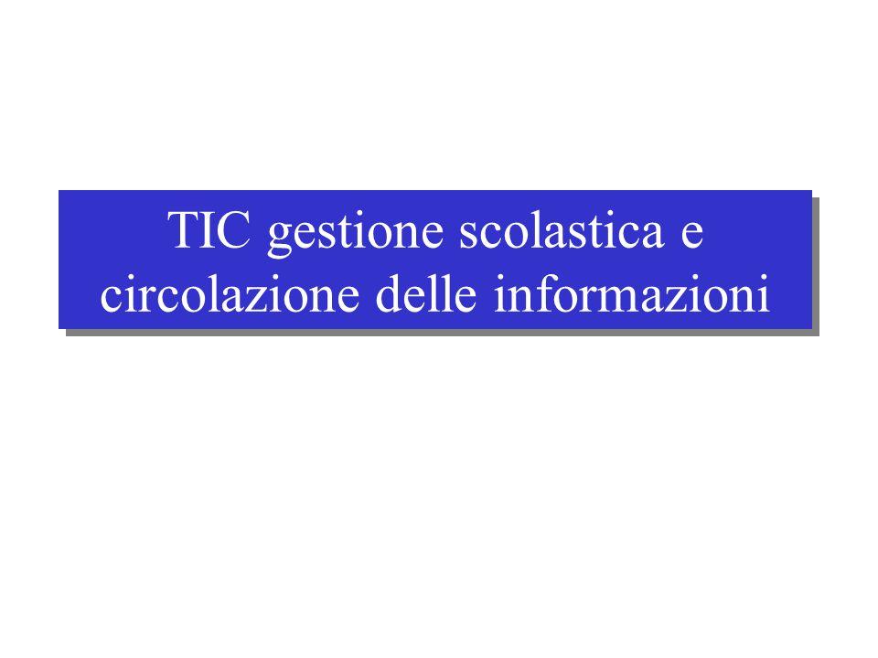 TIC gestione scolastica e circolazione delle informazioni