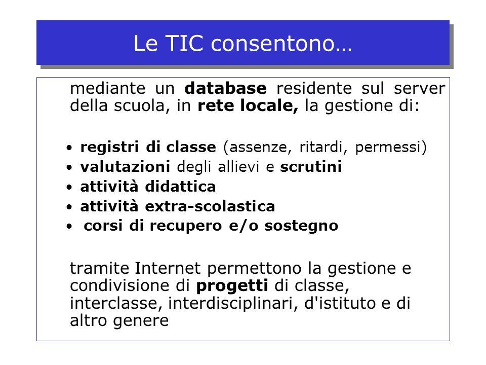 Le TIC consentono… mediante un database residente sul server della scuola, in rete locale, la gestione di: