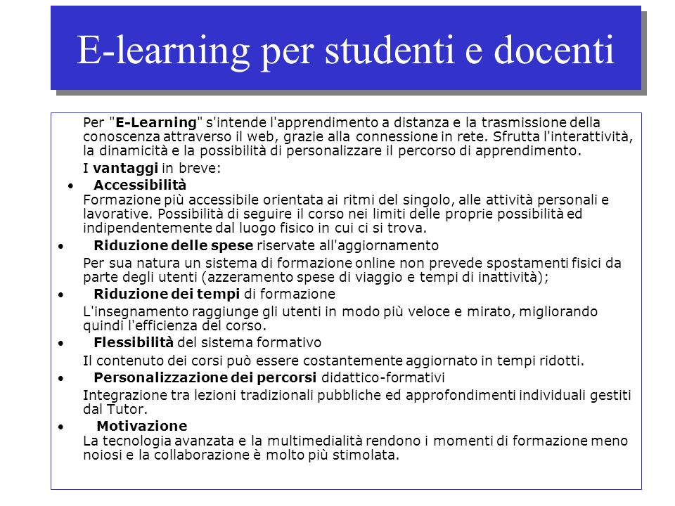 E-learning per studenti e docenti