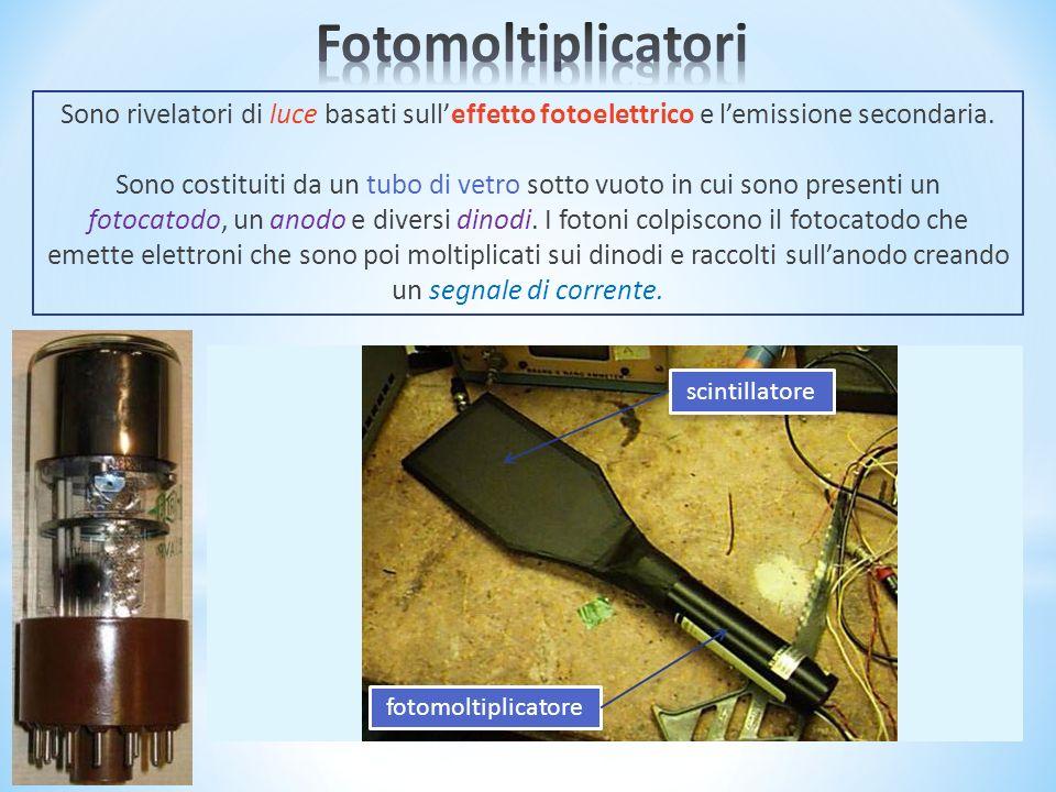 Fotomoltiplicatori Sono rivelatori di luce basati sull'effetto fotoelettrico e l'emissione secondaria.