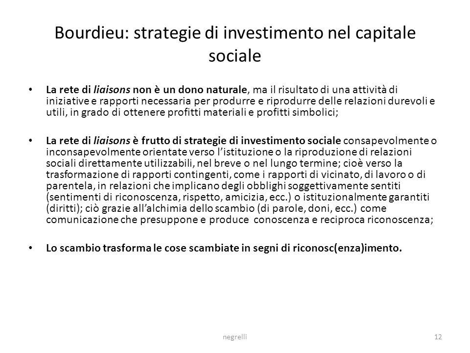 Bourdieu: strategie di investimento nel capitale sociale