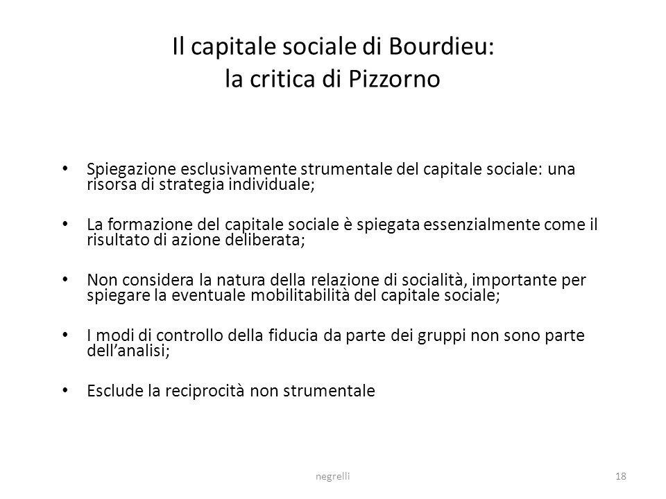 Il capitale sociale di Bourdieu: la critica di Pizzorno