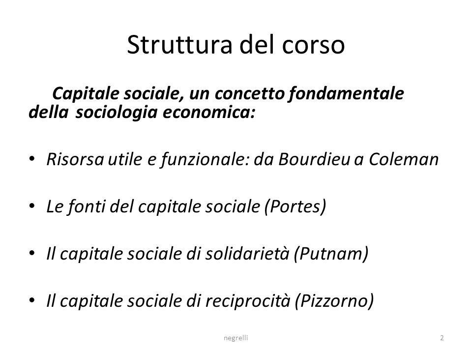 Struttura del corso Capitale sociale, un concetto fondamentale della sociologia economica: Risorsa utile e funzionale: da Bourdieu a Coleman.