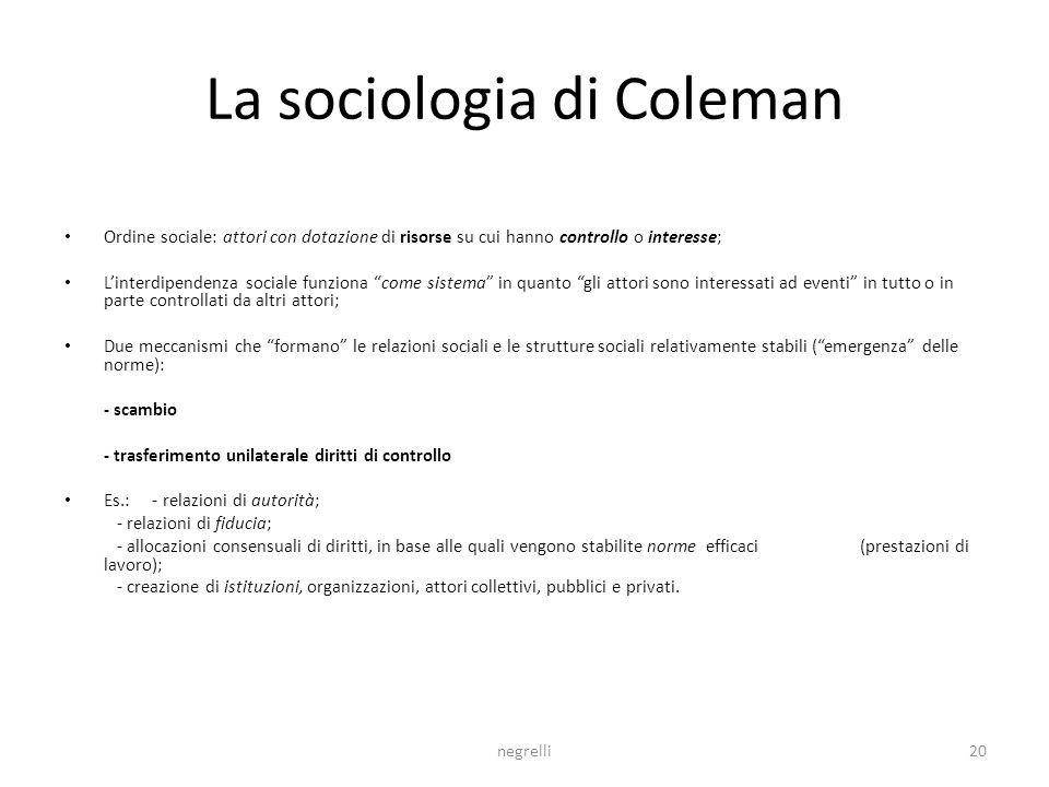 La sociologia di Coleman